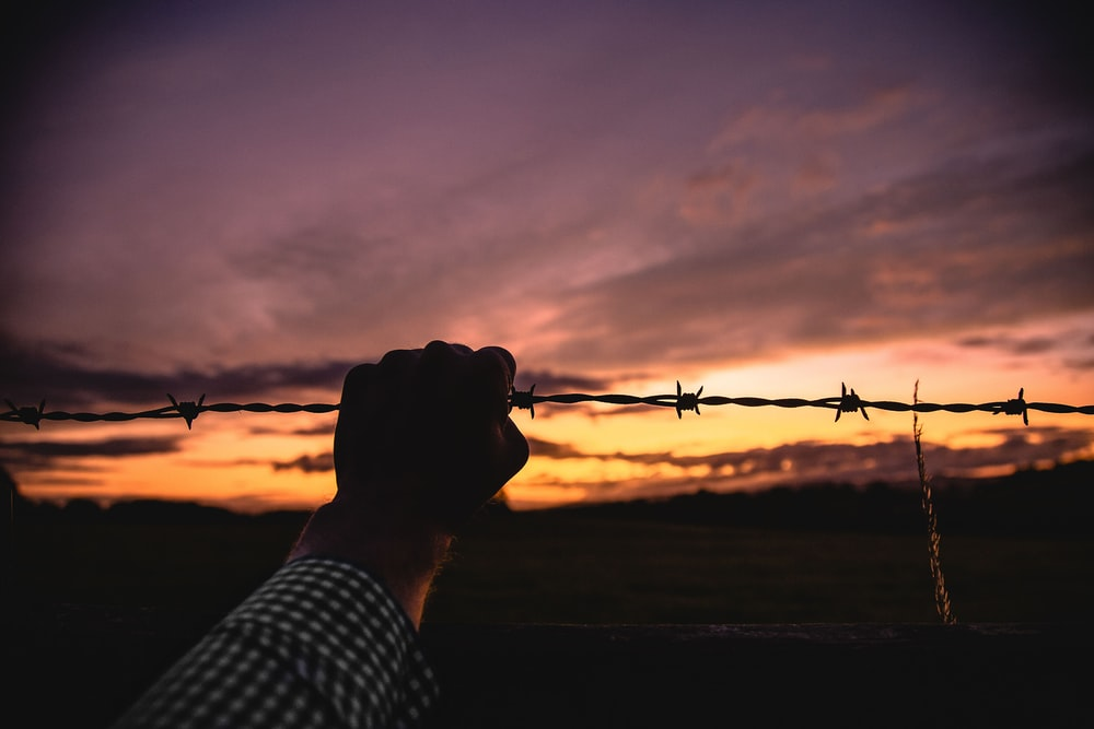A person gripping barbed wire